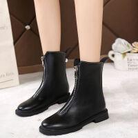 guid短靴女单靴英伦风中筒拉链马丁靴韩版学生女平底机车靴保暖鞋