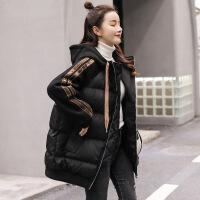 韩版女中长款2018新款学生bf撞色拼接棉袄ins宽松加厚外套冬