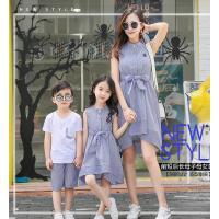 新款潮母子装男童套装母女裙子夏季条纹连衣裙韩版亲子装夏装可礼品卡支付