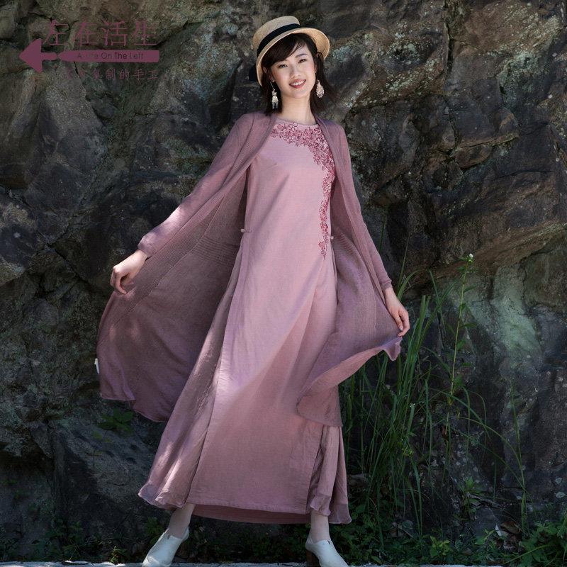 生活在左2018秋季新款绣花连衣裙长裙纯棉长袖宽松大摆仙女