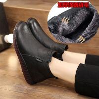 妈妈鞋棉鞋冬季短靴保暖加绒平底软底防滑舒适中老年人单靴女 黑色加绒款 99506