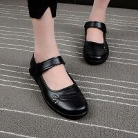 春秋妈妈鞋单鞋圆头老人皮鞋女休闲工作鞋中老年女鞋奶奶鞋子 B57 黑色