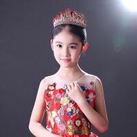 女童皇冠公主王冠儿童头饰皇冠发箍红色皇冠发饰主持演出走秀王冠