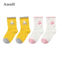 【2件45折:21.8】安奈儿童装女童袜子年新款中袜两件装XG807649