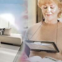 OUJIN支架式超薄放大镜老人专用礼品台式放大镜 整页阅读看书放大镜台式大面积PVC放大镜