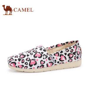 骆驼牌 女鞋 2017新款涂鸦低帮时尚帆布鞋女平跟女士潮鞋玛丽鞋
