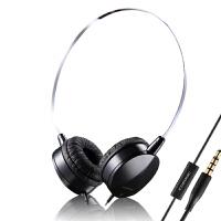 时尚便携线控头戴式耳机 多彩配色 清晰通透 立体声运动防汗耳机带麦 黑
