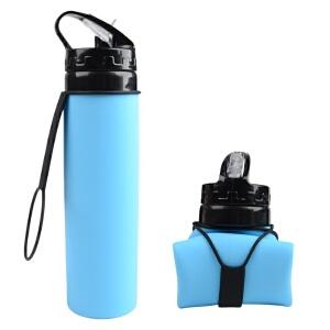 维莱 新品户外骑行水壶便携可折叠自行车水杯硅胶制品伸缩山地车水杯 蓝色