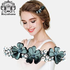 皇家莎莎Royalsasa发夹韩版时尚发卡 清新花朵横夹头饰品人造水晶顶夹盘发马尾弹簧夹发饰