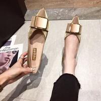 网红平底单鞋女2019新款尖头浅口女鞋一脚蹬工作小皮鞋软底豆豆鞋