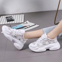 蕾丝网面鞋夏水钻厚底松糕坡跟鞋子女学生韩版老爹鞋女鞋 白色