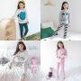 秋冬新款可爱家居服套装时尚男女中大童韩版卡通保暖家居服