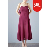 修身显瘦吊带露背连衣裙无袖沙滩裙波西米亚中长裙性感显瘦GH112 酒红
