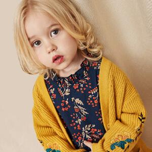 迷你巴拉巴拉女童V领毛衣秋新款童装女宝宝婴儿长袖线衫开衫