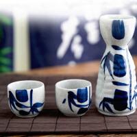 MinoYaki美浓烧日本进口蓝竹款陶瓷清酒酒具三件套