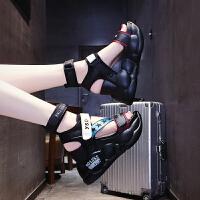 夏季时尚坡跟凉鞋女夏季高跟仙女风2019新款防滑不磨脚百搭厚底松糕休闲女士罗马凉鞋