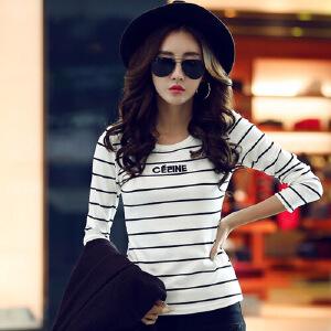 长袖T恤女春装韩版女装上衣T恤圆领条纹打底衫春秋外穿显瘦小衫WK0871