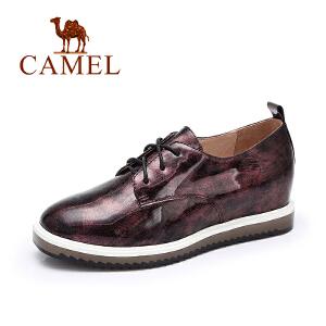Camel骆驼女鞋 秋季新品时尚个性撞色系带内增高平跟单鞋潮
