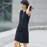 【AMII 超级品牌日】Amii[极简主义]2017夏装新款大码通勤无袖拉链腰带连衣裙11742646