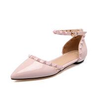 ELEISE美国艾蕾莎夏季上新003-V22-1韩版漆皮平底鞋尖头女士凉鞋