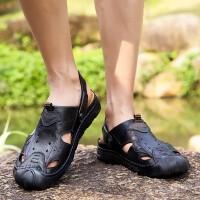 品牌新款夏季流行男凉鞋包头真皮镂空休闲鞋舒适透气防水防滑耐磨沙滩鞋