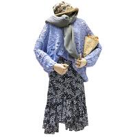 大码女装胖妹妹胖mm宽松镂空针织毛衣高腰碎花雪纺半身裙心机套装
