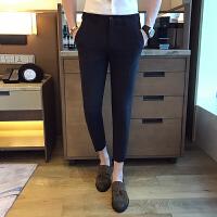 夏季男士发型师英伦绅士KTV小码S工装裤修身小脚九分裤裤西装裤潮