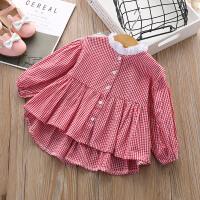 女童衬衫春装2018新款韩版宝宝长袖开衫上衣儿童休闲条纹衬衣裙子 大红色