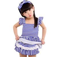 儿童泳衣 女孩公主游泳衣温泉分体裙式条纹宝宝泳装