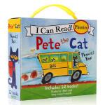 英文原版绘本 I Can Read系列 Pete the Cat Phonics Box 皮特猫 自然拼读盒装12册