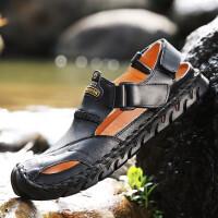 2019男鞋休闲凉鞋男夏季包头男士沙滩鞋潮流户外运动越南橡胶防滑休闲凉鞋