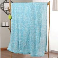 纱布毛巾被单人夏季纯棉薄款双人毛巾毯床单全棉空调被夏凉被【】 湖蓝色 双层树叶蓝