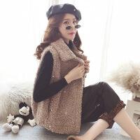 冬季2018新款韩版羊羔毛马甲女毛绒绒背心马夹无袖坎肩短款外套