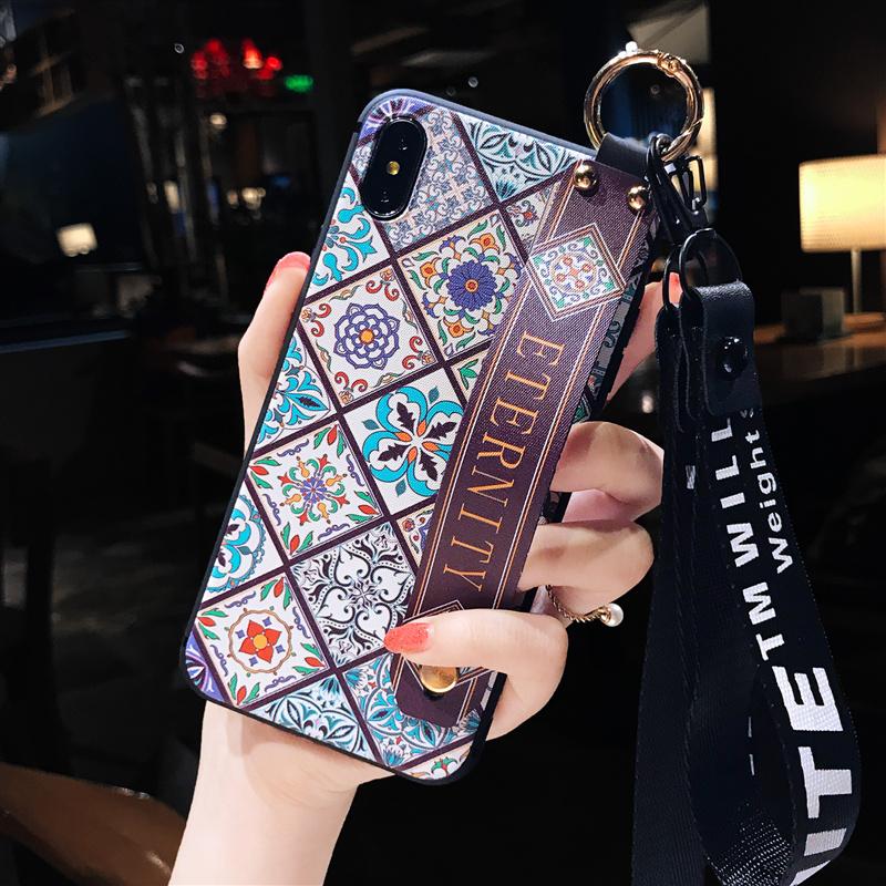 20190721011003009苹果x手机壳女款8plus韩版腕带7p潮牌个性iPhone6s创意6带挂绳iPhone i6/6s 青花瓷腕带