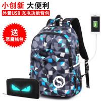 2018新款韩版背包电脑包休闲双肩包女高中学生书包男士青年旅行包时尚潮流 USB接口 蓝格子+恶魔钱包