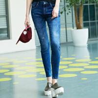 【满299减200】美特斯邦威牛仔裤女夏新款女休闲时尚小脚牛仔长裤