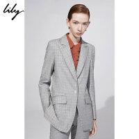 【25折到手价:274.75元】 Lily春新款女装OL通勤一粒扣灰色细格纹西装118400C2502