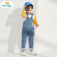 【2件3折】马卡乐童装2020春新款男宝宝套装撞色T恤牛仔背带裤男童套装
