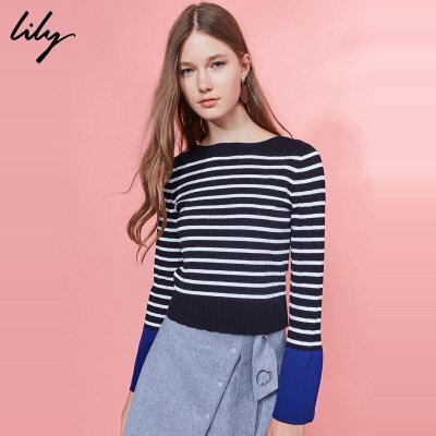 【每满200减100】Lily新款女装时髦OL撞色条纹喇叭袖套头毛针织衫116470B8763撞色袖口;喇叭袖;一字领