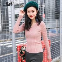 针织打底衫女装2018春秋装新款韩版百搭长袖修身黑色短款套头毛衣