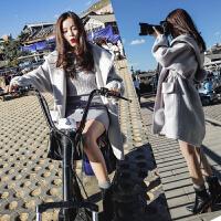 ulzzang毛呢外套女2017秋冬季新款韩国中长款连帽小个子呢子大衣