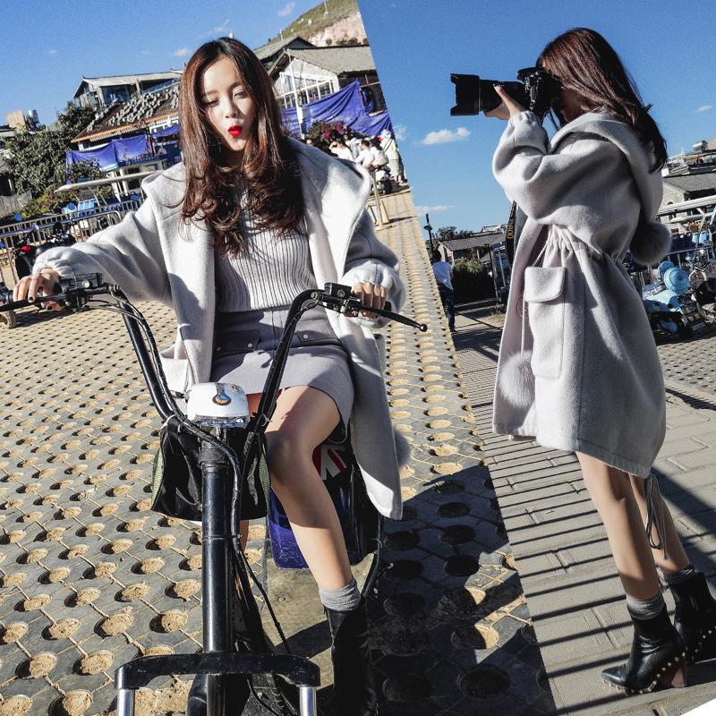 ulzzang毛呢外套女2017秋冬季新款韩国中长款连帽小个子呢子大衣韩范中长款修身呢子大衣