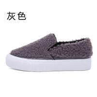 冬季新款仿毛棉鞋女松糕乐福鞋加绒保暖休闲鞋套脚女鞋