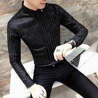 条纹衬衫男长袖修身 韩版 帅气发型师衬衣气质百搭休闲村衫青少年