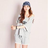 夏天韩版女士睡衣夏季短袖套装可爱针织棉女装家居服女夏装可外穿英文字母潮服全白全灰 大码