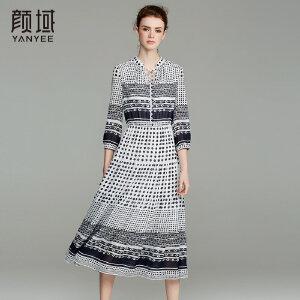 颜域品牌女装2018春夏新款复古V领系带七分袖收腰波点雪纺连衣裙