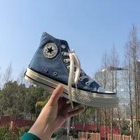 街拍经典款ins情侣帆布鞋男高帮韩版学生潮鞋百搭复古港风板鞋子
