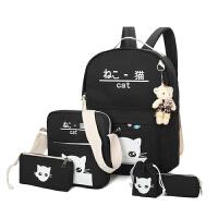 帆布双肩包可爱小猫咪印花书包中小学生新款大容量电脑包韩版卡通 黑色帆布款 送熊