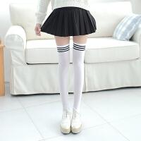夏季薄款修身腿丝袜女学生黑白色膝袜日系防滑中筒袜性感长筒袜时尚 均码