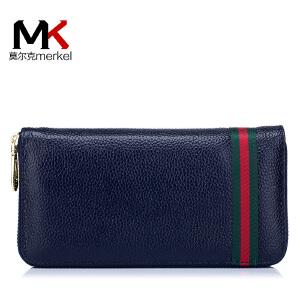 莫尔克(MERKEL)2018新款女士真皮手拿包红绿布钱夹长款时尚头层牛皮拉链手机钱包